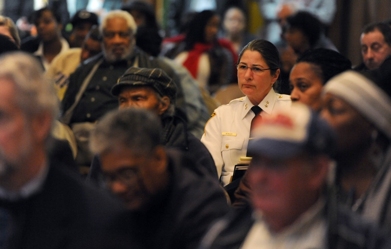 New London Police Chief Margaret Ackley attends an  NAACP  town hall meeting at the Second Congregational Church in New London Tuesday, Feb. 21, 2012.