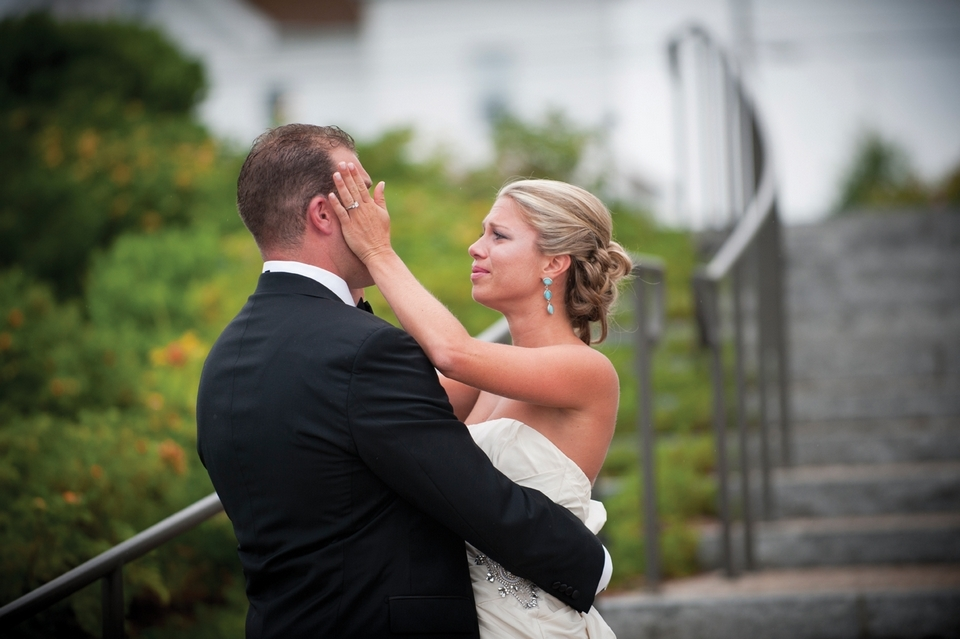 "Instead of hiding from each other, some couples opt for a ""first look"" prior to their wedding ceremony, as in this moment from a July wedding at the Ocean House in Westerly."