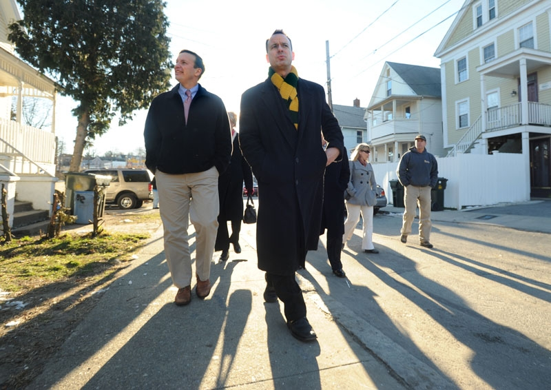 U.S. Sen. Chris Murphy, left, and Mayor Daryl Justin Finizio walk along Belden Street while the mayor and other city officials were giving the senator a tour of projects in New London on Friday.