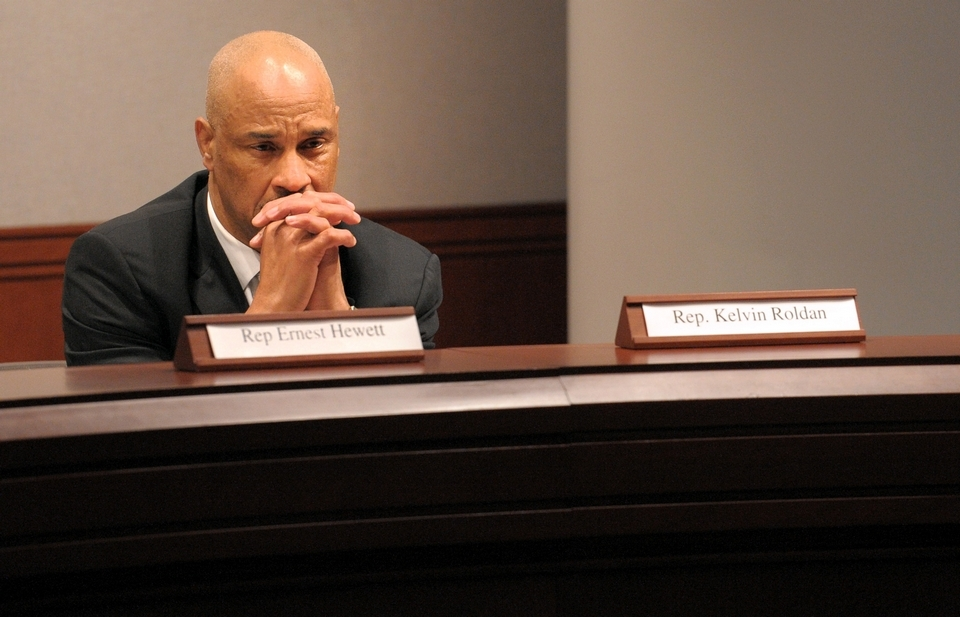 In this March 29, 2012, Day file photo, Rep. Ernest Hewett, D-New London, attends a Black and Puerto Rican Caucus meeting during a public hearing at the Legislative Office Building in Hartford.
