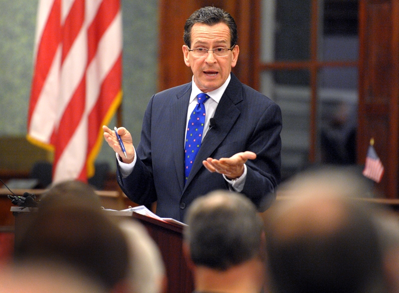 Gov. Dannel P. Malloy takes questions about his stance on gun safety Thursday during a community forum at Norwich City Hall.