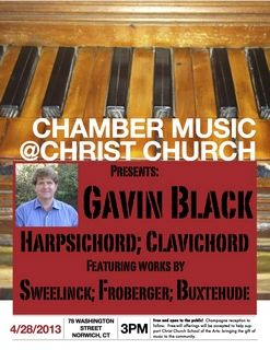 Chamber Music @ Christ Church Presents: Gavin Black, Harpsichordist;