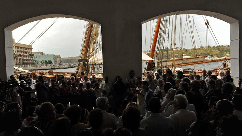 The Amistad fills the archways of the Havana harbor cruise terminal as the crew of the Amistad is welcomed to Havana, Cuba Thursday, March 25, 2010.