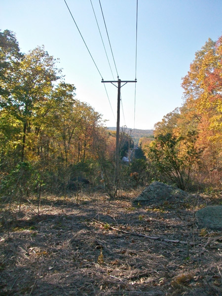 The trail passes a power line road.