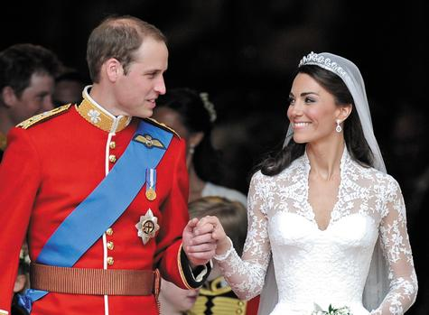 Britain's Prince William and his wife Kate, the Duchess of Cambridge, stand outside of Westminster Abbey after their wedding in London. The couple celebrate their first anniversary on Sunday.