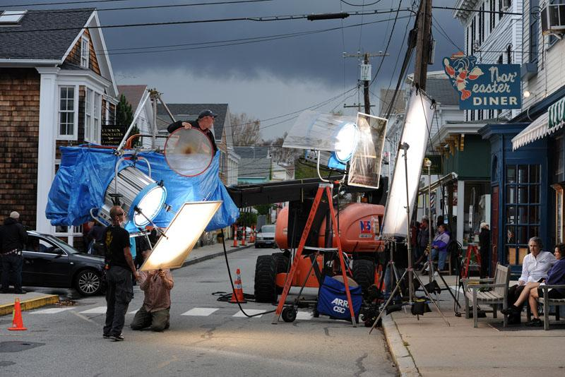 Production crews on the set of