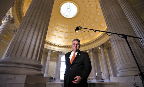 Rep. Peter King, R-N.Y., whose district includes Long Island, expresses his anger and disappointment during a cable TV interview on Capitol Hill in Washington Wednesday after the House GOP leadership decided late New Year's Day to allow the current term of Congress to end without holding a vote on aid for victims of Superstorm Sandy.