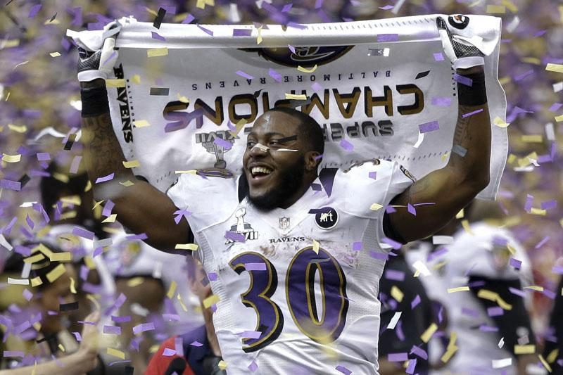 Baltimore Ravens running back Bernard Pierce celebrates after their 34-31 win against the San Francisco 49ers in the NFL Super Bowl XLVII football game, Sunday, Feb. 3, 2013, in New Orleans.