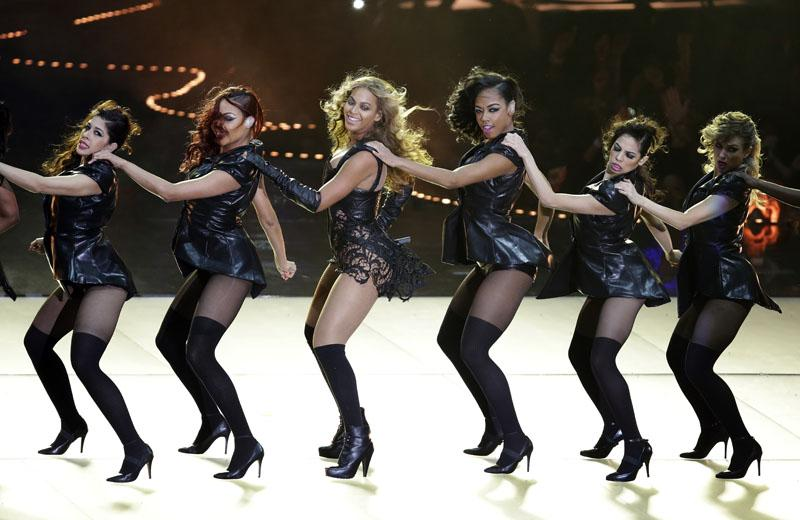 Beyonce performs during the halftime show of the NFL Super Bowl XLVII football game between the San Francisco 49ers and the Baltimore Ravens, Sunday, Feb. 3, 2013, in New Orleans.