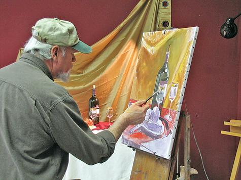 Bernard C. McTigue leads an oil-painting class