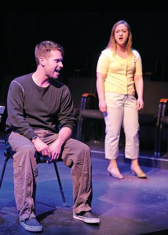 Zachary Gregusas as Vince and Anne Fowler as the young Liz rehearse the Spirit of Broadway Theater production of