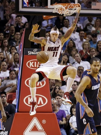 Miami's Chris Anderson hangs onto the rim after dunking during the second half of Sunday's game against Charlotte. The Heat won 109-77.