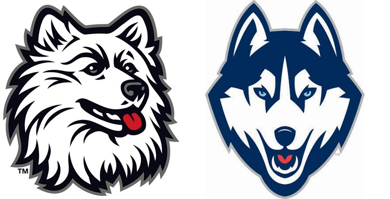 The old and new, right, logo for the University of Connecticut Huskies. This is the sixth Jonathan Husky image used since the dog was first adopted in 1934 as a school symbol.