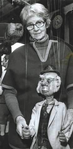 Margo Rose in 1983 with marionette Phineas T. Bluster, one of the characters on 'The Howdy Doody Show,' a popular and pioneering TV show that aired in the 1950s. Howdy Doody, created by Margo and her husband, Rufus Rose, could be sold by a Detroit Museum that now has custody of the puppet but is under pressure to sell off its assets in an effort to raise some cash amid Detroit's recent filing of a bankruptcy petition.