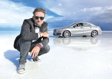 Ledyard native Casey Neistat shot this self portrait in June on the Bonneville Salt Flats in Utah, while he was filming a series of commercials for Mercedes' new four-door CLA coupe, background. Neistat has full creative control over the spots, which will culminate in a nationwide 60-second commercial.