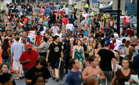 Crowds mob the bottom of State Street during New London's annual summer event, Sailfest.