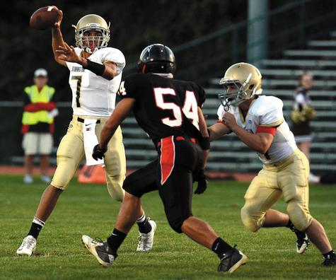 Stonington quarterback Divante White (7), who scored three touchdowns last week and helped rally the Bears past Waterford, will try to lead Stonington to its second straight win tonight against Griswold.