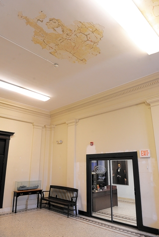 The ceiling outside of the Mayor's Office in New London City Hall is cracking and crumbling with water damage as many of the public buildings in New London are showing age and are in need of renovation and repair. Photo was taken Friday.