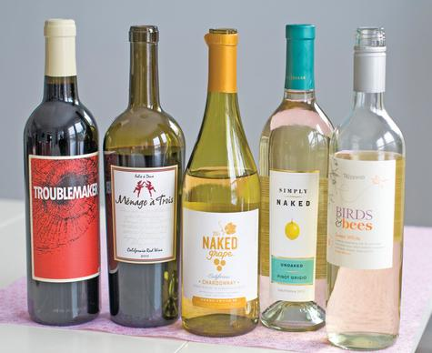 An assortment of wines with labels that range from sweet to saucy.