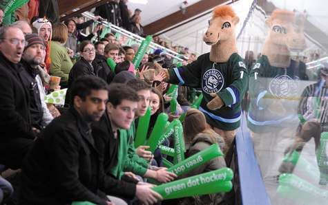 The Connecticut College camel wanders through a sea of 'Green Dot' thunder sticks as the college's men's hockey team squares off against Tufts University in the third annual Green Dot Hockey Game at Dayton Arena Saturday. The game is part of the college's 'Green Dot' program to raise awareness of and prevent violence.