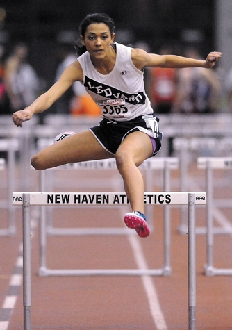 Chenoa Sebastian has won back-to-back State Open 55-meter hurdles championships in indoor track, including this one in 2013. This year she won the Eastern Connecticut Conference Large Division, Class M and State Open titles in the hurdles before finishing eighth in New England and 11th in the emerging elite division at the national championships.