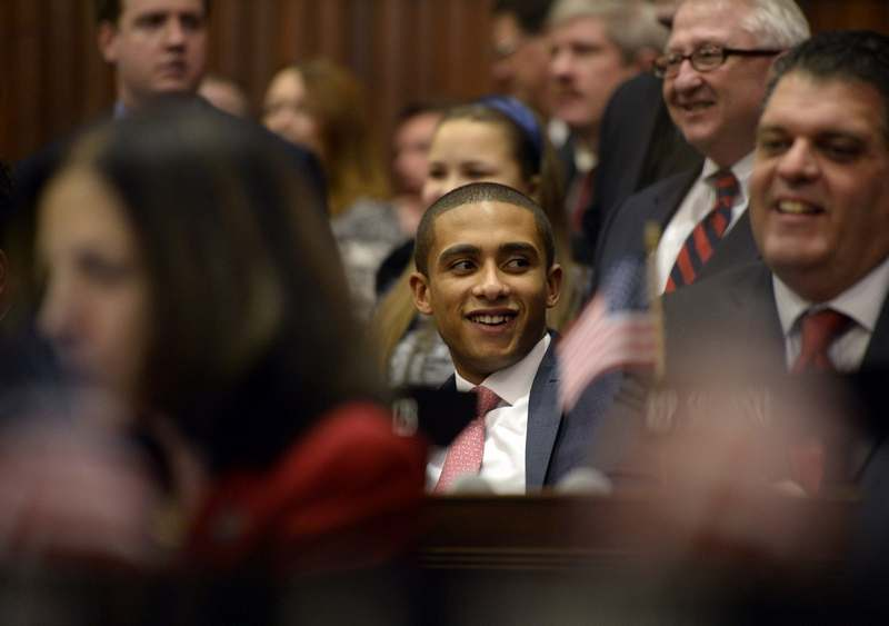 Aundré Bumgardner, center, of the 41st District, smiles as Lt. Gov. Nancy Wyman ends the session after Gov. Dannel P. Malloy  addressed  members of the state House and Senate as they jointly convene at the Capitol building in Hartford Wednesday, Jan. 7, 2015.