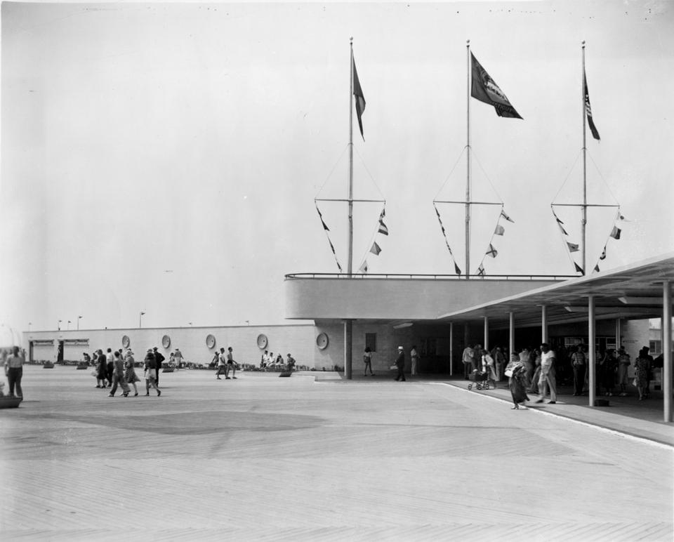 The Art Moderne style of architecture, with its horizontal emphasis and use of nautical elements, can be seen in the bathhouse and flag bridge. (Day file photo)