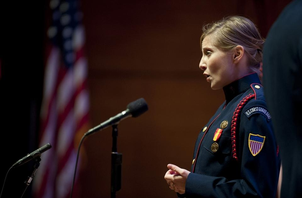 """Megan Weikleenget, Musician 1st Class vocalist for the United States Coast Guard Band, will be one of 33 vocalists from the five uniformed service bands who will sing """"America the Beautiful"""" before Super Bowl 50. (Photo submitted)"""