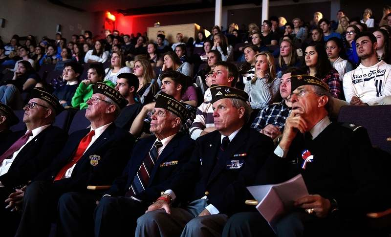 Members of VFW Post 1467 join students at Lyme/Old Lyme High School to watch a short documentary,