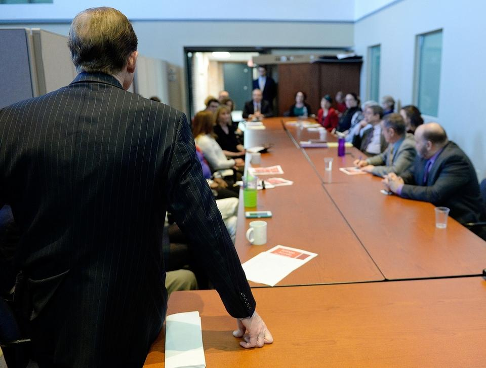 U.S. Senator Richard Blumenthal (D-Conn.), left, listens as he meets with stakeholders in the local opioid crisis to discuss the state of the local response and concerns over the proposed Trump administration cuts to various medical and social service budgets at Ledge Light Health District Thursday, March 16, 2017.  (Sean D. Elliot/The Day)