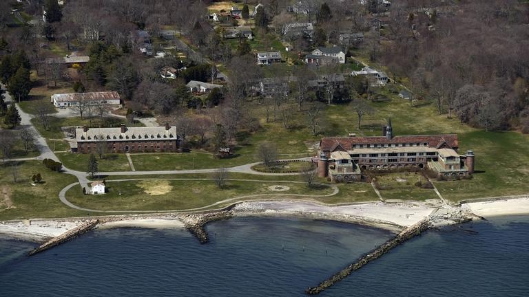 The proposed Seaside State Park property in Waterford is seen from the air April 25, 2014.  (Sean D. Elliot/The Day)
