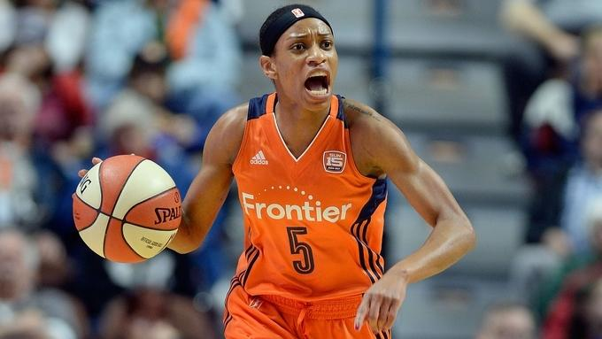 Connecticut Sun point guard Jasmine Thomas brings the ball up in a WNBA game against the Atlanta Dream on May 13 at Mohegan Sun Arena. (Sean D. Elliot/The Day)