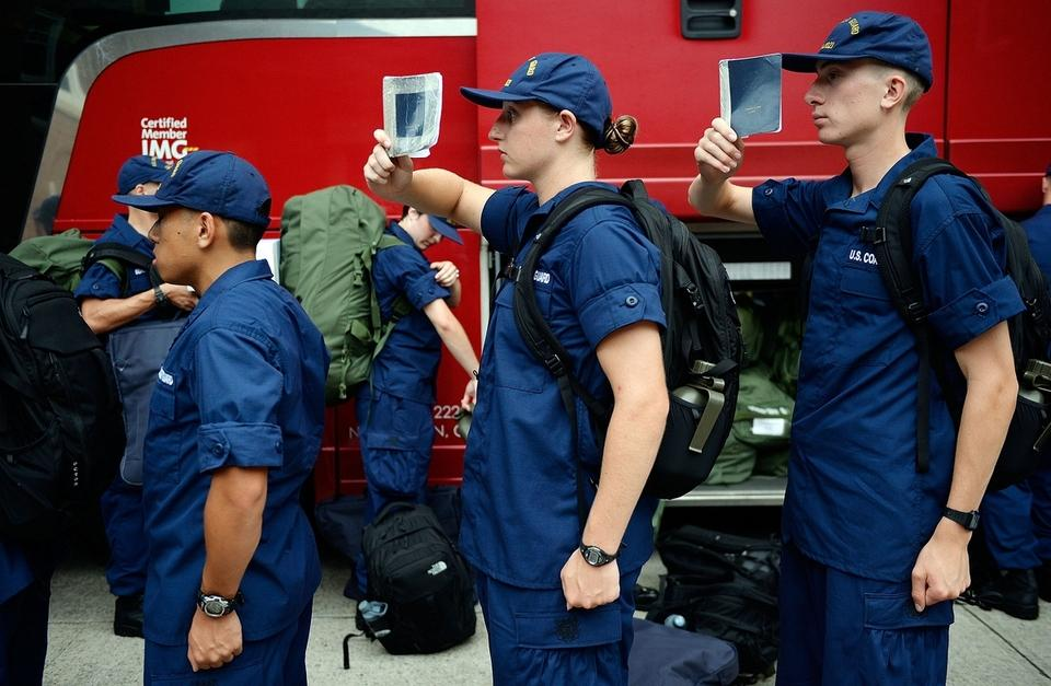 Members of the U.S. Coast Guard Academy Class of 2021 line up to board the bus from the academy in New London to Halifax, Nova Scotia, on Friday, July 28, 2017, to embark on the Coast Guard barque Eagle for tall ship training.  (Sean D. Elliot/The Day)