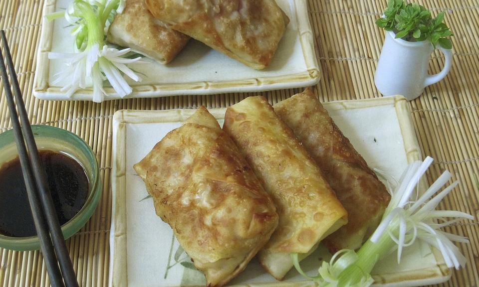 """Not fried egg rolls."" This dish is from a recipe by Sara Moulton. (Sara Moulton via AP)"