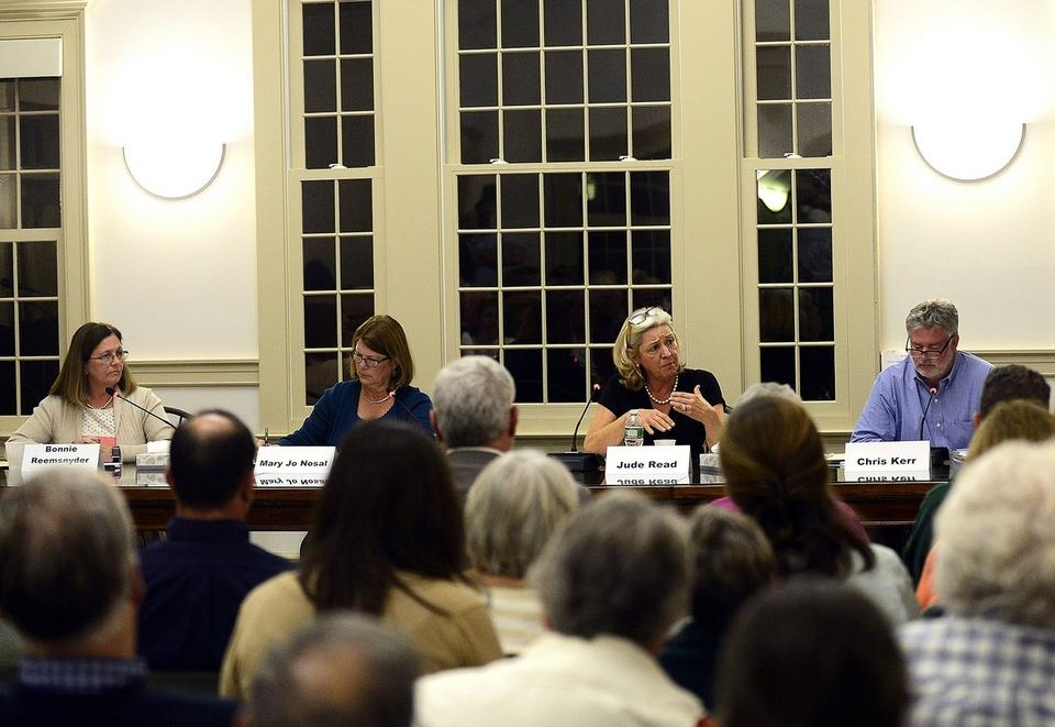 Candidates for Old Lyme First Selectman and Selectman, from left, Bonnie Reemsnyder, Mary Jo Nosal, Jude Read and Chris Kerr answer questions during a debate on Thursday, October 12, 2017 at Old Lyme Town Meeting Hall.  (Sarah Gordon/The Day)