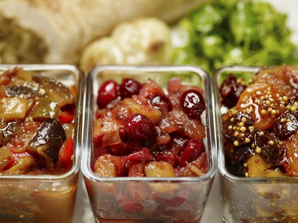 Thanksgiving chutneys (Phil Mansfield/The Culinary Institute of America via AP)