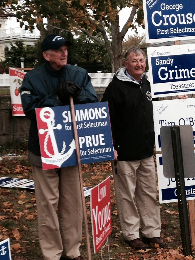 Stonington Republican First Selectman Rob Simmons and his Democratic challenger, George Crouse, campaign next to each other outside the polls at the Stonington Borough firehouse on Tuesday afternoon, Nov. 7, 2017. (Joe Wojtas/The Day)