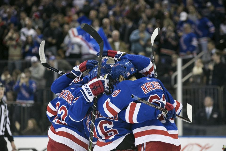 The Rangers celebrate after right wing Pavel Buchnevich scored during the second period against the Oilers on Saturday in New York. (AP Photo/Kevin Hagen)