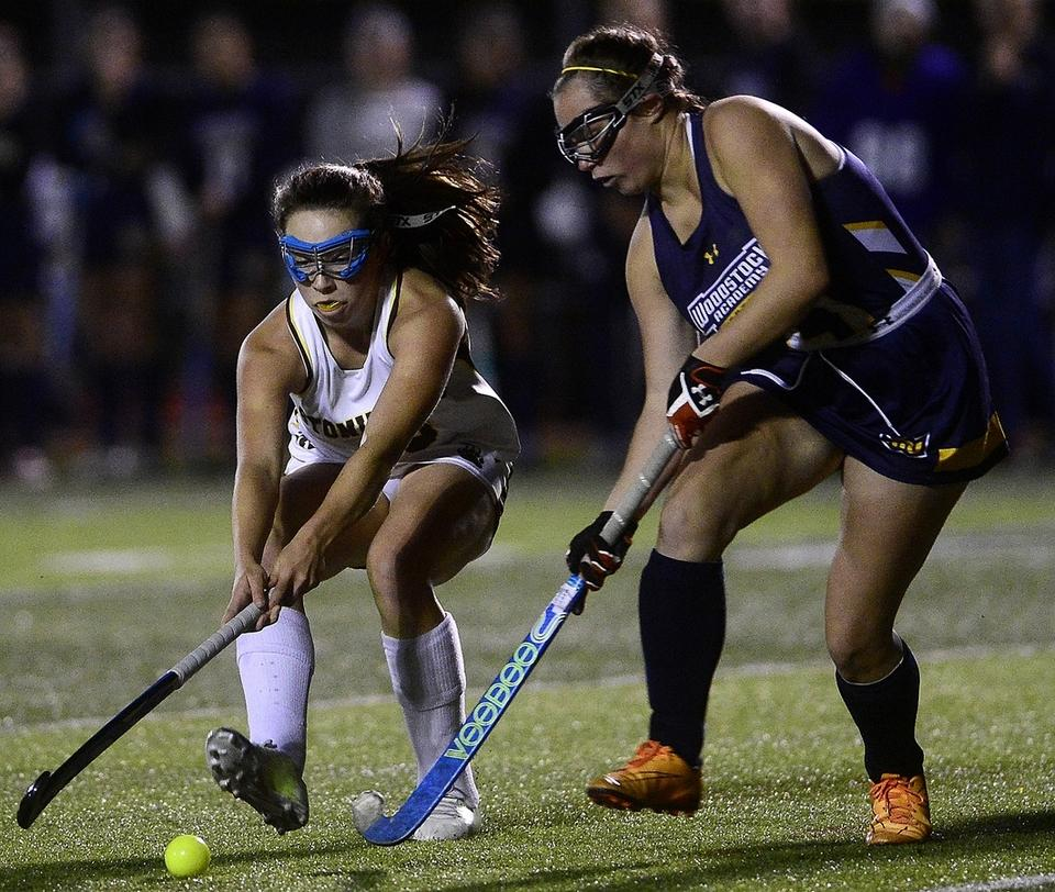 Stonington's Miranda Arruda, left, who has score a team best 24 goals, will help lead the No. 4 Bears into Tuesday's Class S field hockey semifinals against No. 1 North Branford on Tuesday at 6 p.m. at East Lyme High School. (Sarah Gordon/The Day)