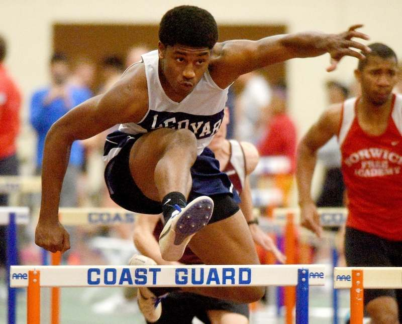 Ledyard's Collin Wiltshire is the reigning Eastern Connecticut Conference Division I champion in the 55-meter hurdles and his back for his season season. (Tim Cook/The Day)