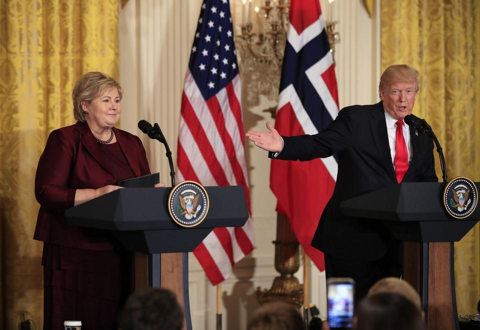 FILE - In this Wednesday, Jan. 10, 2018 file photo, US President Donald Trump speaks during a joint news conference with Norwegian Prime Minister Erna Solberg in the East Room of the White House in Washington.  Africans woke up on Friday Jan. 12, 2018 to find President Donald Trump taking an interest in their continent.Using vulgar language, Trump on Thursday questioned why the U.S. would accept more immigrants from Africa rather than places like Norway in rejecting a bipartisan immigration deal. (AP Photo/Manuel Balce Ceneta, File)