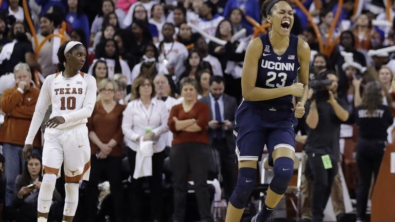 UConne's forward Azura Stevens (23) celebrates after the top-ranked Huskies outlasted No. 8 Texas 75-75 on Monday night in in Austin, Texas. (AP Photo/Eric Gay)