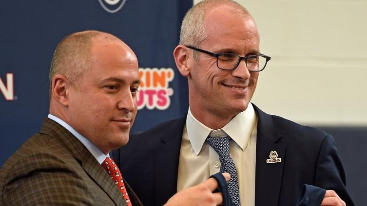 Dan Hurley, right, who was introduced as UConn's new men's basketball coach by athletic director David Benedict on March 23, has leaned heavily on fellow UConn coaches while transitioning into his new role in Storrs. (Sean D. Elliot/The Day)