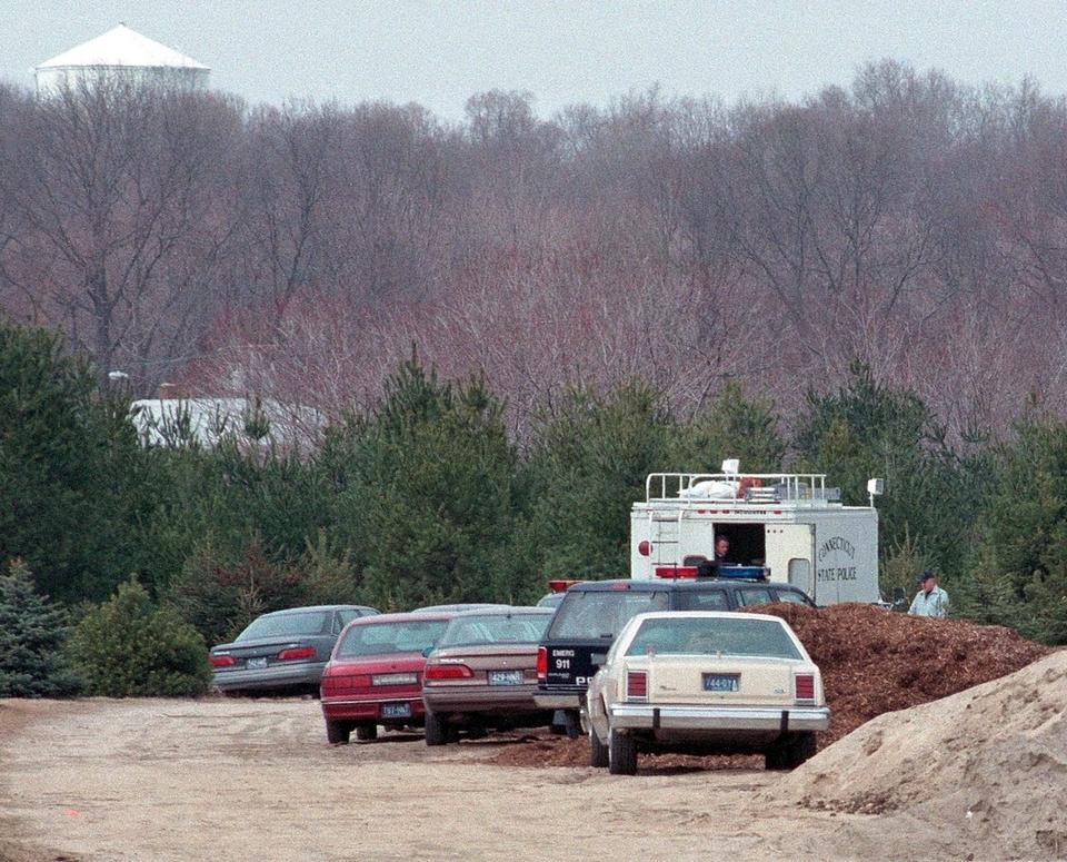A Ford Taurus, at far left, in which the body of William Spicer was found, is surrounded by investigators' vehicles on the Sparkle Lake Christmas Tree Farm property March 16, 1995. (File Photo)
