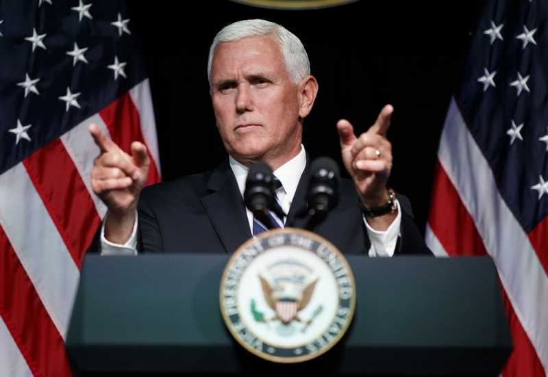 Vice President Mike Pence gestures during an event on the creation of a U. S. Space Force, Thursday, Aug. 9, 2018, at the Pentagon.  Pence says the time has come to establish a new United States Space Force to ensure America's dominance in space.  (AP Photo/Evan Vucci)