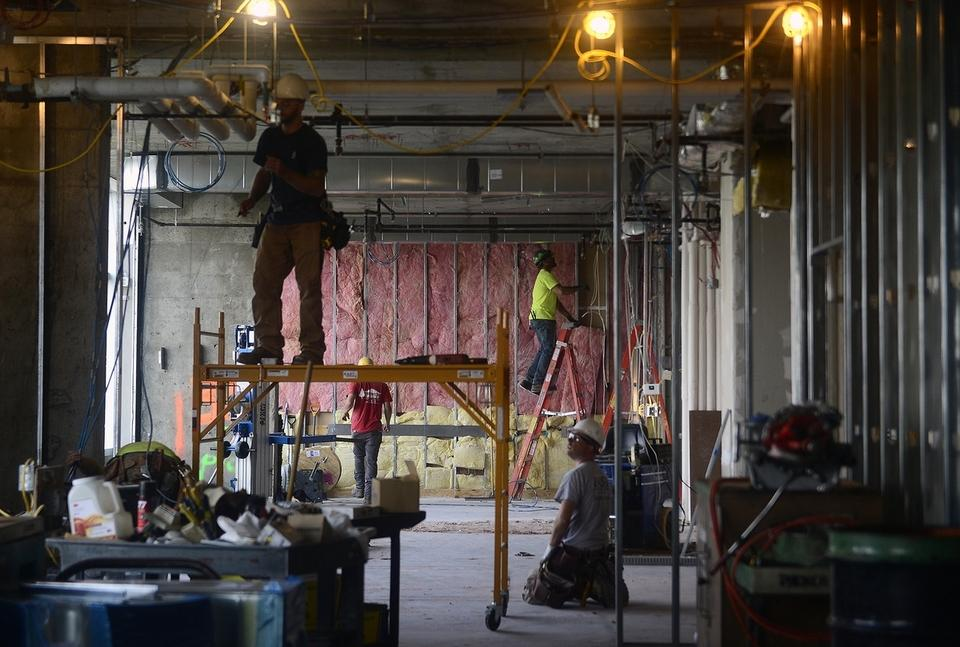 Construction work continues on Thirty Three, a new VIP lounge, during a tour of Mohegan Sun's new VIP hotel project 'Aspire'  on Tuesday, August 7, 2018.  Set to open by the end of this year the project transforms the hotel's top floors and opens the lounge overlooking the Thames River.  (Sarah Gordon/The Day)
