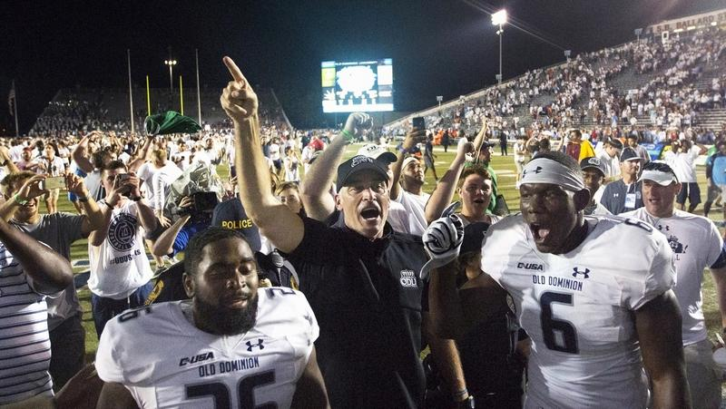 Old Dominion head coach Bobby Wilder reacts after stunning then-No. 12 Virginia Tech on Saturday, 49-35, in Norfolk, Va. (L. Todd Spencer/The Virginian-Pilot)