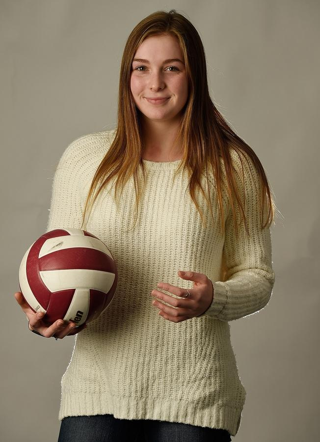 East Lyme High School senior outside hitter Sydney Iannantuono compiled 431 kills this season and led the Vikings to a 19-5 record, earning recognition as a Class L all-state selection. Iannantuono was named The Day's 2018 All-Area Volleyball Player of the Year. (Sean D. Elliot/The Day)
