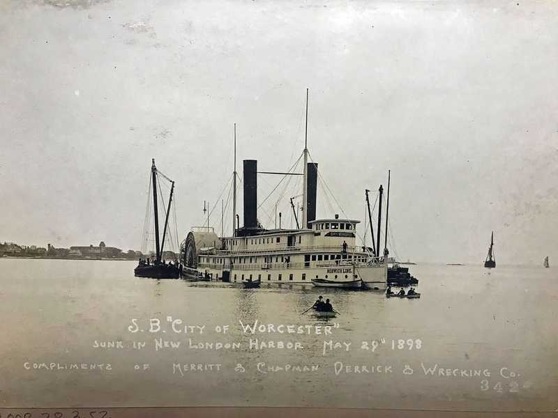 The steamboat City of Worcester sunk in New London Harbor on May 28, 1898. (Courtesy of Mystic Seaport Museum)
