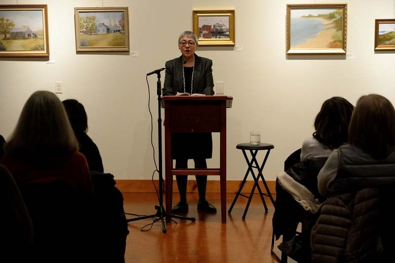 Novelist Sigrid Nunez reads from one of her books Saturday, Jan. 12, 2019, at the La Grua Center in Stonington. She is the current writer in residence at the Merrill House in the borough.  (Dana Jensen/The Day)